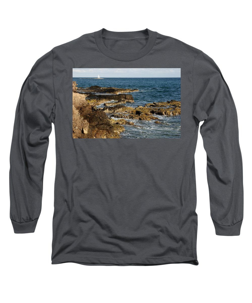 Sailboat Long Sleeve T-Shirt featuring the photograph Black Rock Point And Sailboat by Jean Macaluso