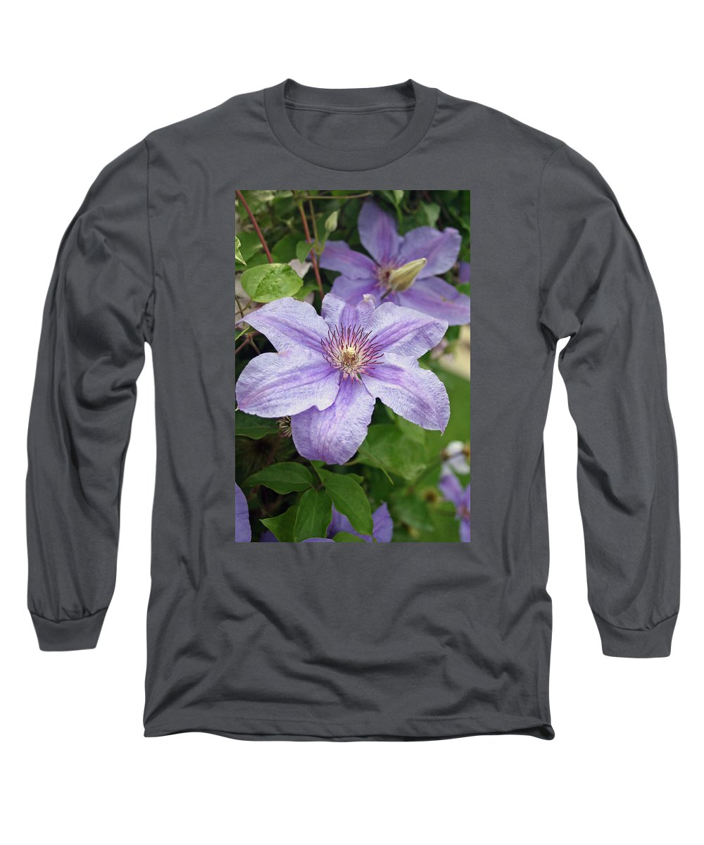 Clematis Long Sleeve T-Shirt featuring the photograph Blue Clematis by Margie Wildblood