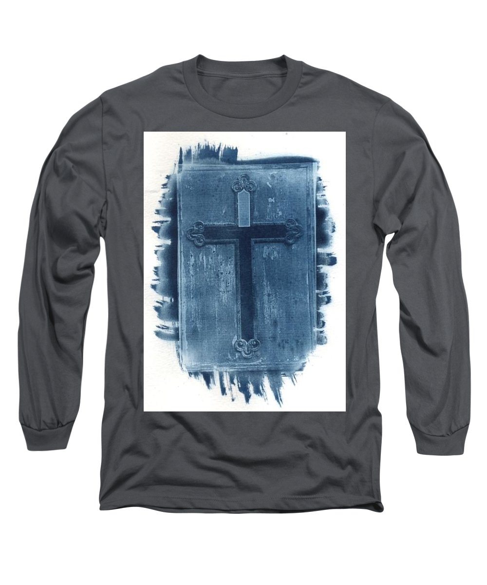 Cyanotype Long Sleeve T-Shirt featuring the photograph Blue Cross by Jane Linders