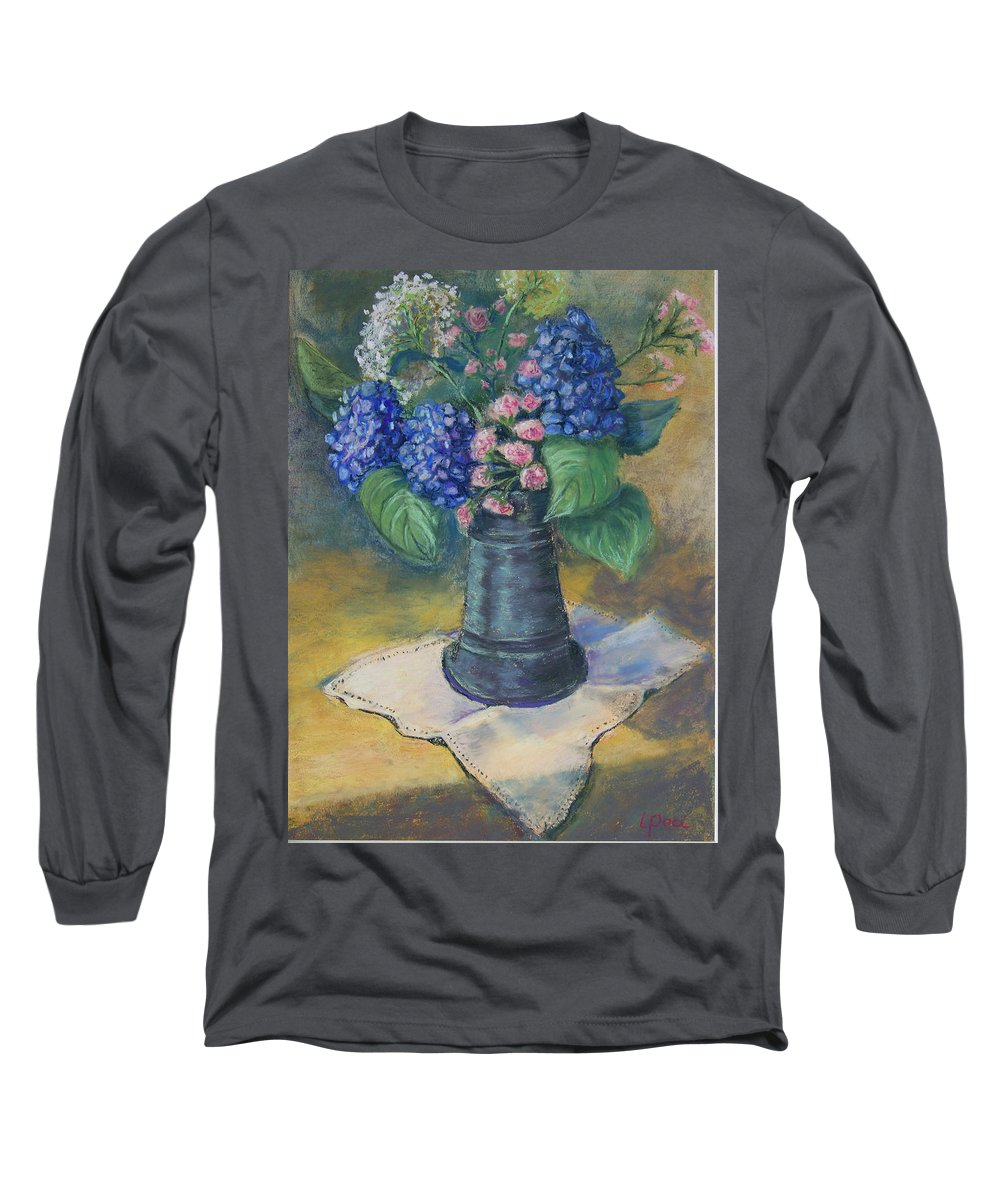 Flowers Long Sleeve T-Shirt featuring the painting Blue Summer by Laurie Paci