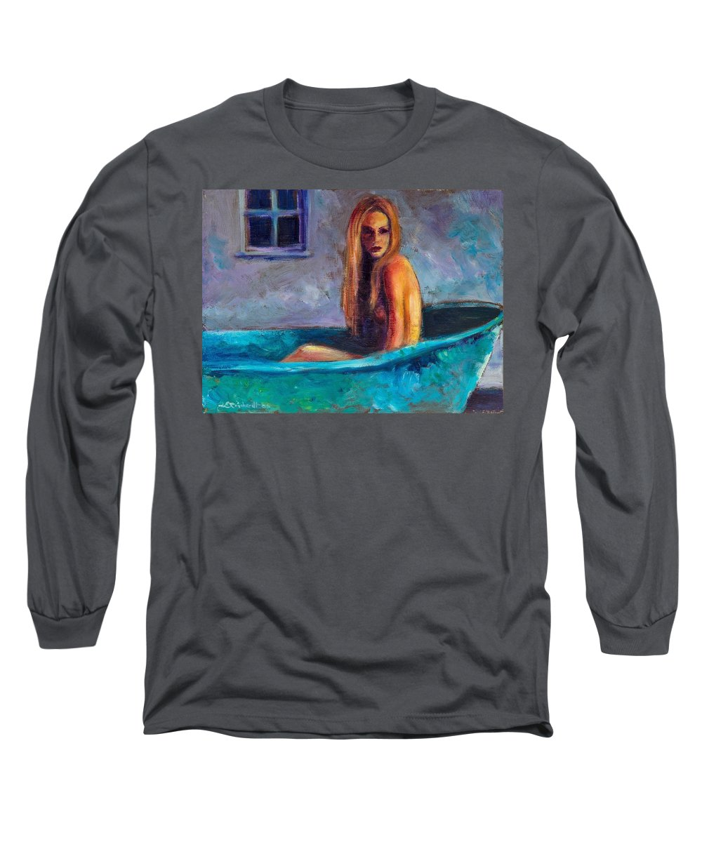 Nude Long Sleeve T-Shirt featuring the painting Blue Tub Study by Jason Reinhardt