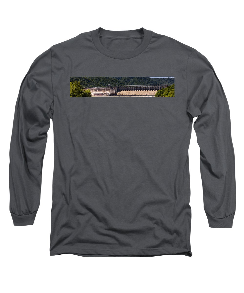 Bluestone Long Sleeve T-Shirt featuring the photograph Bluestone West Virginia Dam Panorama by Teresa Mucha