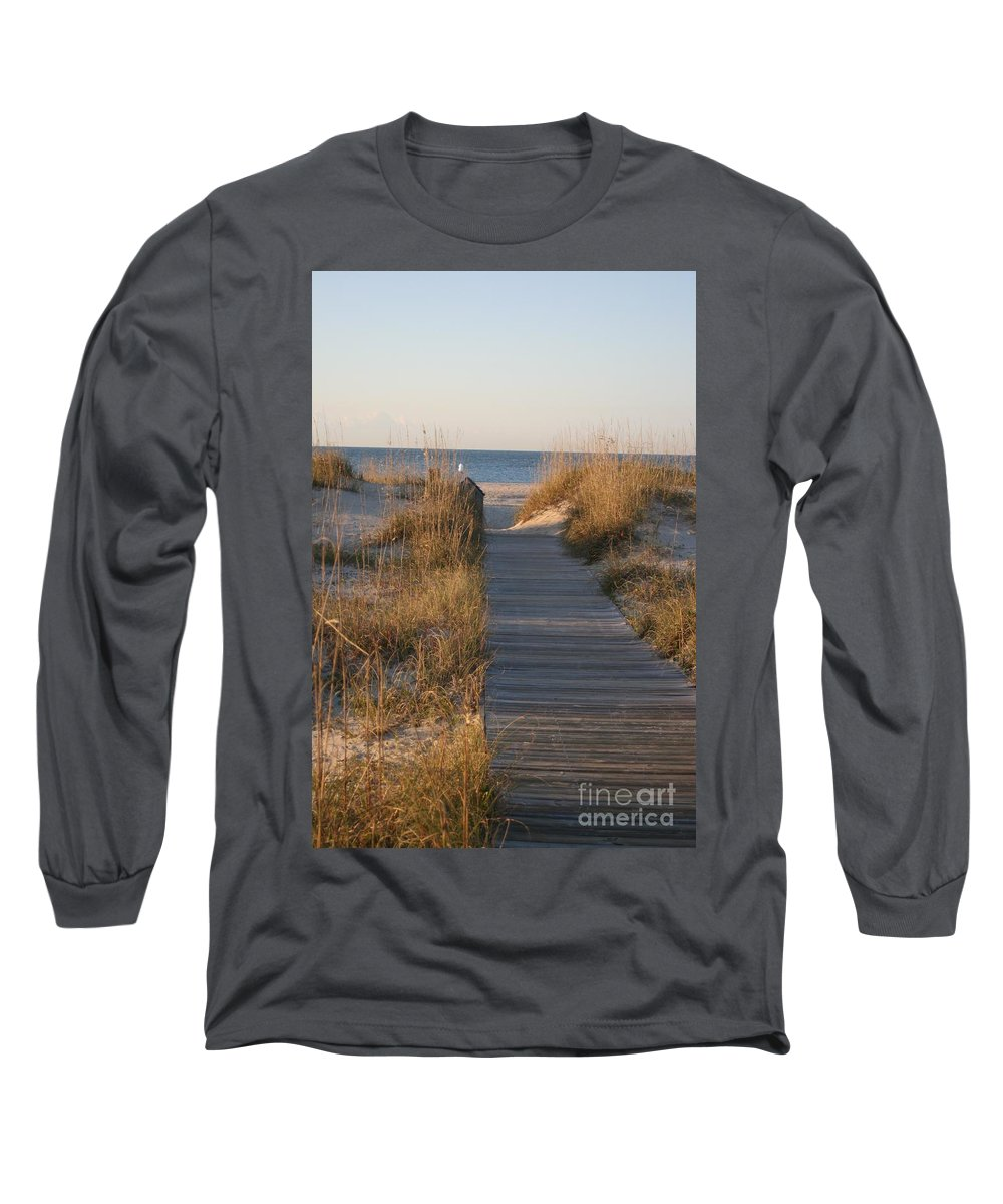 Boardwalk Long Sleeve T-Shirt featuring the photograph Boardwalk To The Beach by Nadine Rippelmeyer