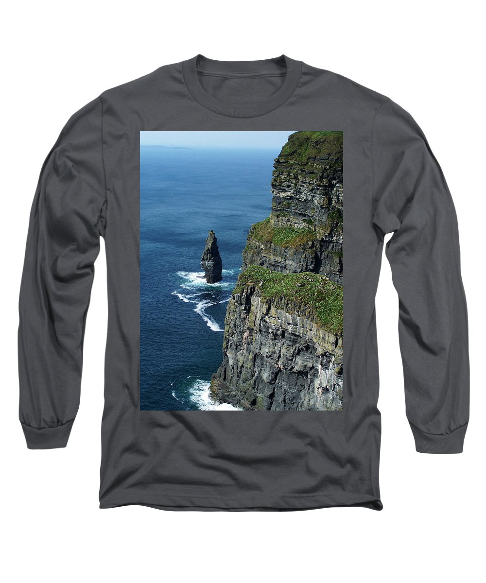 Irish Long Sleeve T-Shirt featuring the photograph Brananmore Cliffs Of Moher Ireland by Teresa Mucha