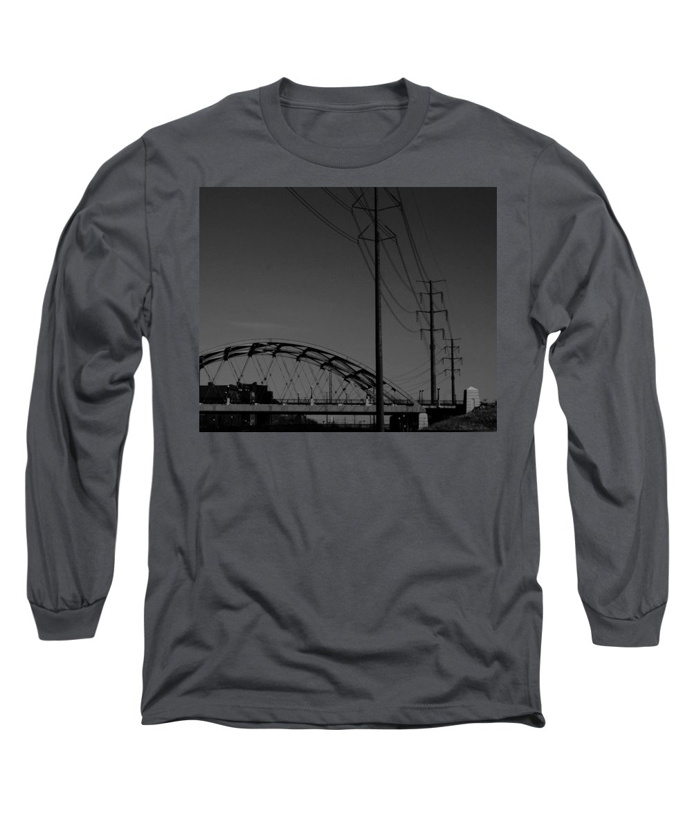 Metal Structures Long Sleeve T-Shirt featuring the photograph Bridge And Power Poles At Dusk by Angus Hooper Iii