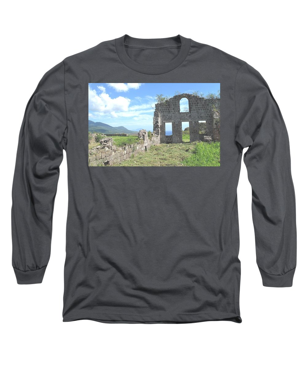 St Kitts Long Sleeve T-Shirt featuring the photograph Brimstone Ruins by Ian MacDonald