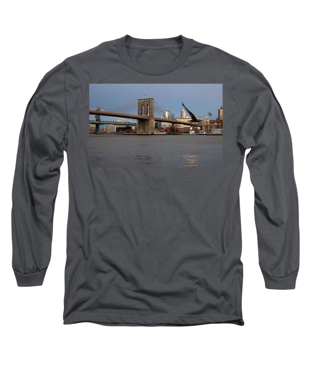 Brooklyn Bridge Long Sleeve T-Shirt featuring the photograph Brooklyn Bridge And Bird In Flight by Anita Burgermeister
