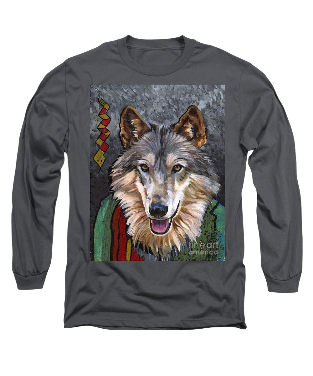 Wolf Long Sleeve T-Shirt featuring the painting Brother Wolf by J W Baker