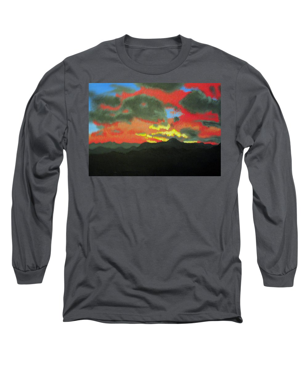Sunset Long Sleeve T-Shirt featuring the painting Buenas Noches by Marco Morales