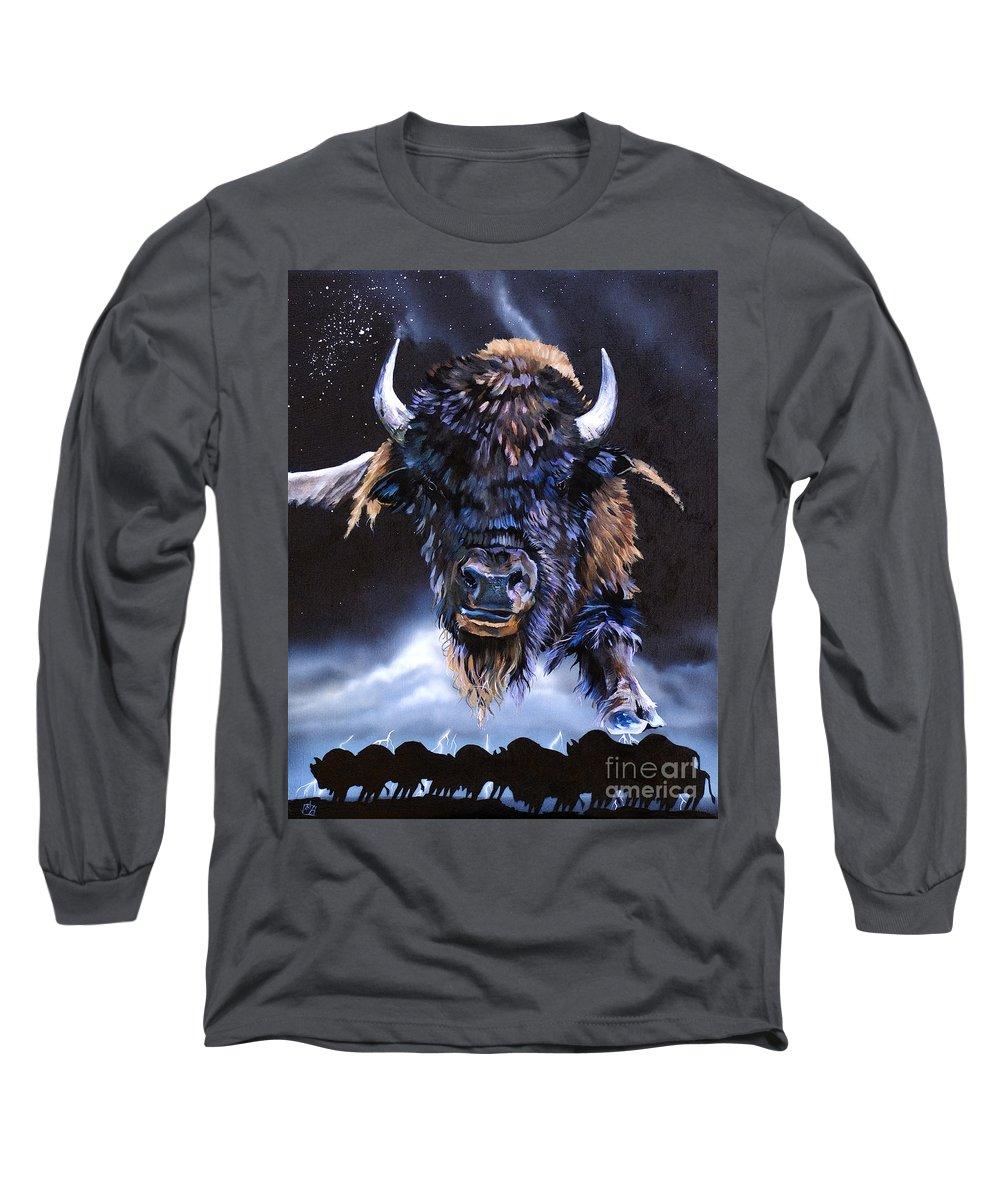 Buffalo Long Sleeve T-Shirt featuring the painting Buffalo Medicine by J W Baker