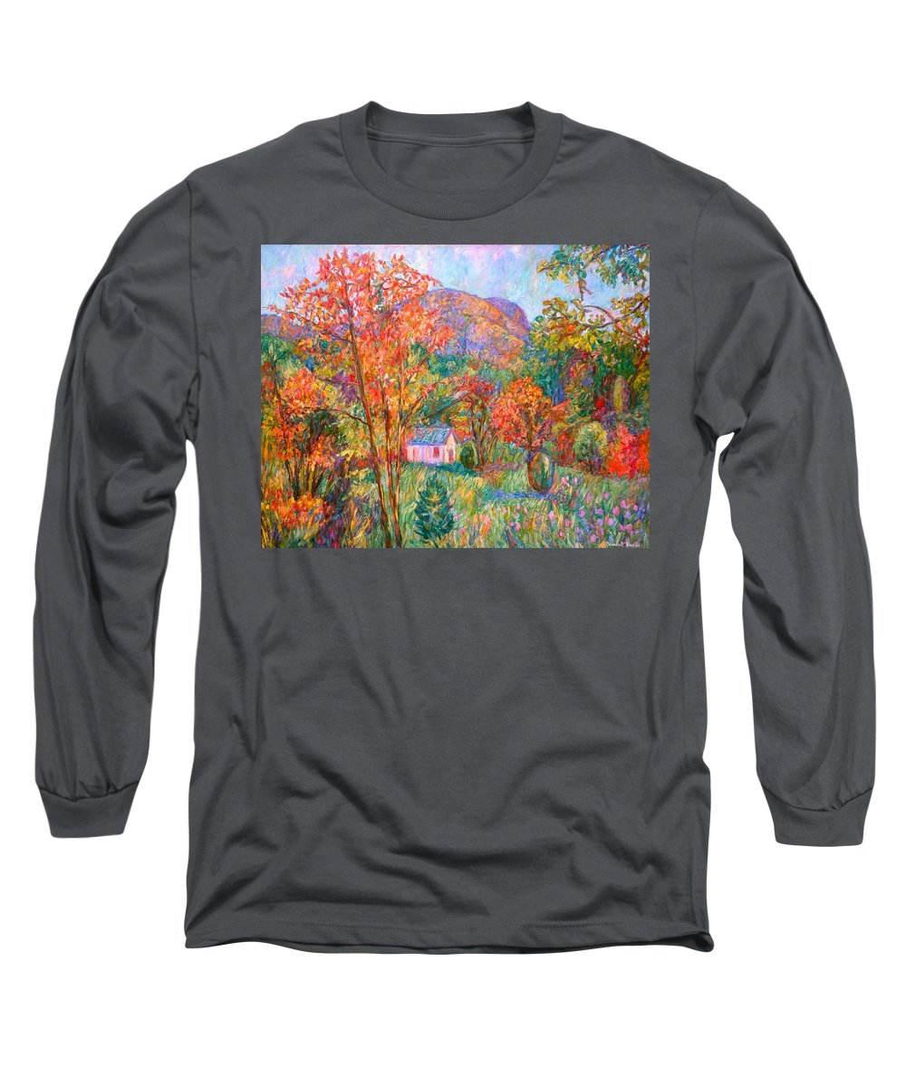 Landscape Long Sleeve T-Shirt featuring the painting Buffalo Mountain In Fall by Kendall Kessler