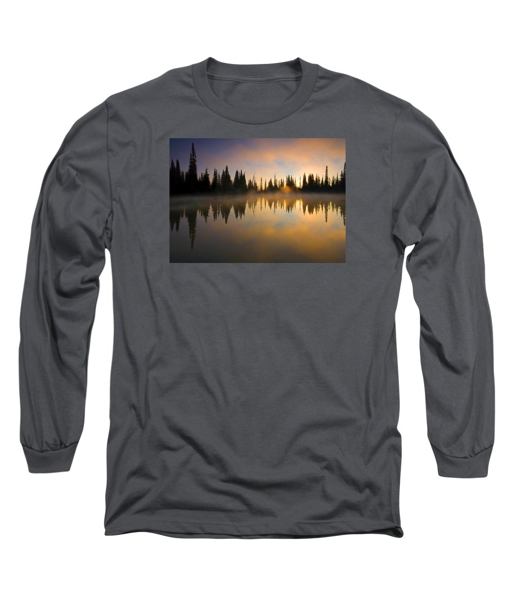 Lake Long Sleeve T-Shirt featuring the photograph Burning Dawn by Mike Dawson