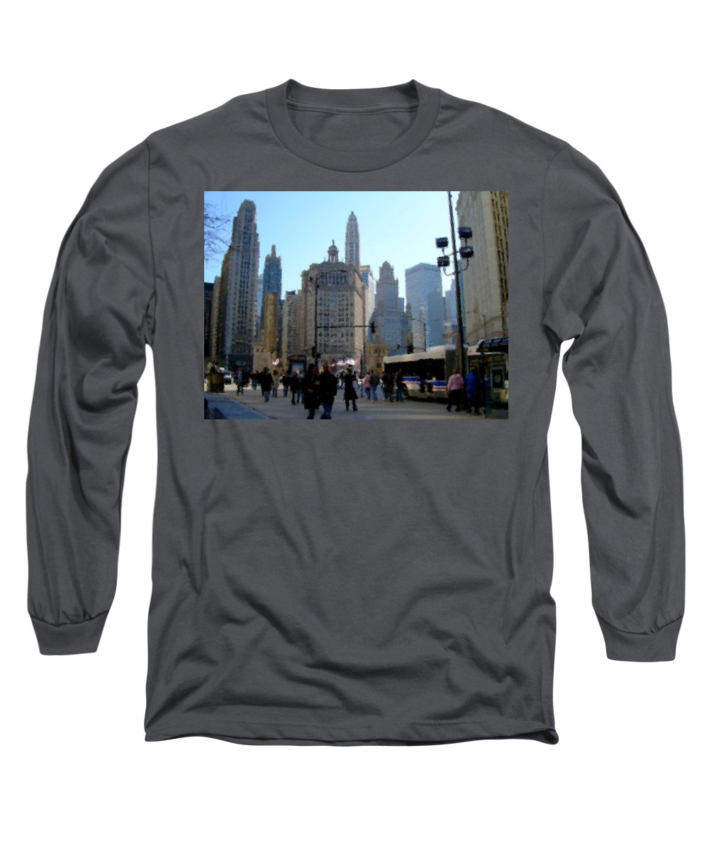 Archtecture Long Sleeve T-Shirt featuring the digital art Bus On Miracle Mile by Anita Burgermeister