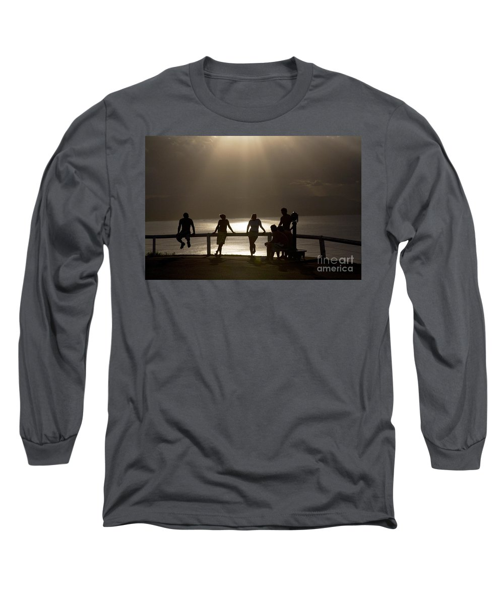 Byron Bay Lighthouse Silhouette Sunset Rays Long Sleeve T-Shirt featuring the photograph Byron Bay Lighthouse by Avalon Fine Art Photography