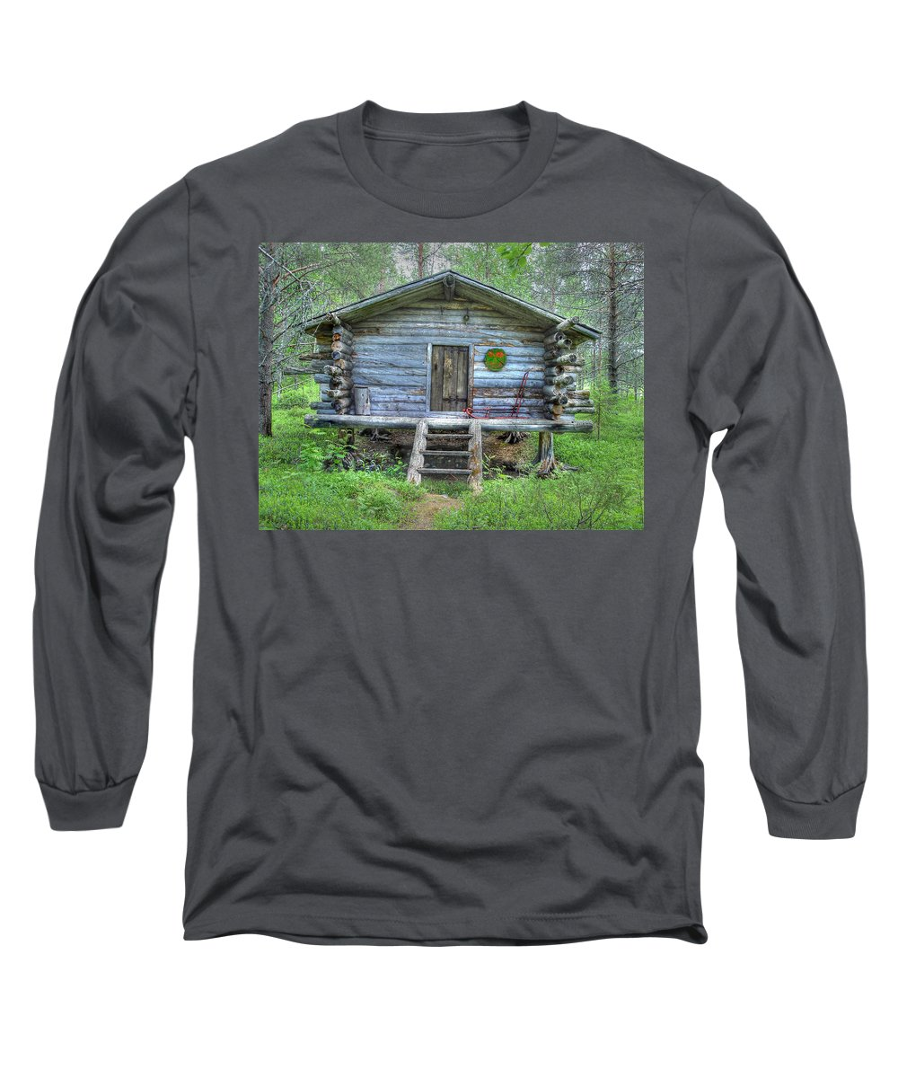 Rustic Long Sleeve T-Shirt featuring the photograph Cabin In Lapland Forest by Merja Waters
