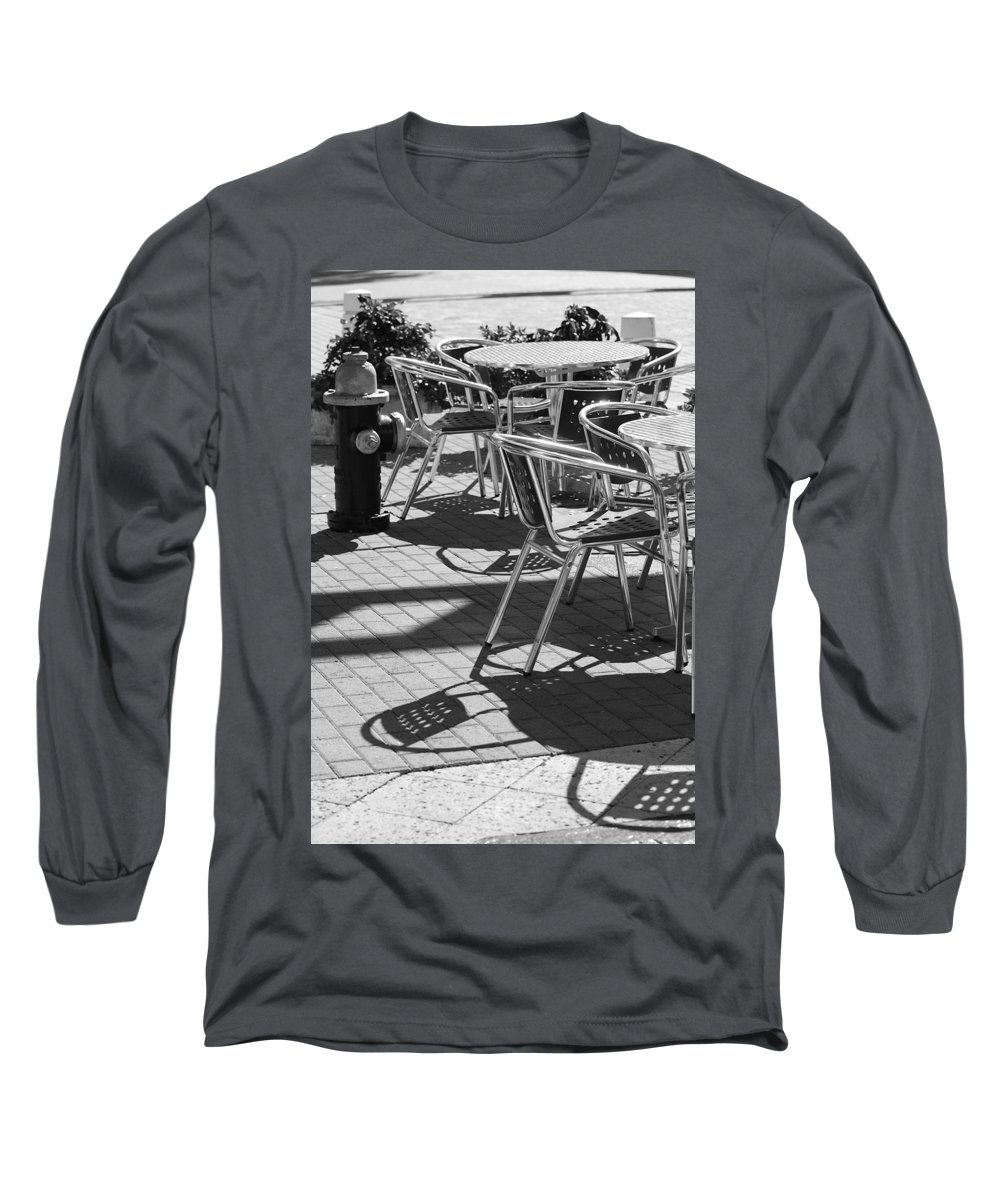 Fire Hydrant Long Sleeve T-Shirt featuring the photograph Cafe Hydrant by Rob Hans