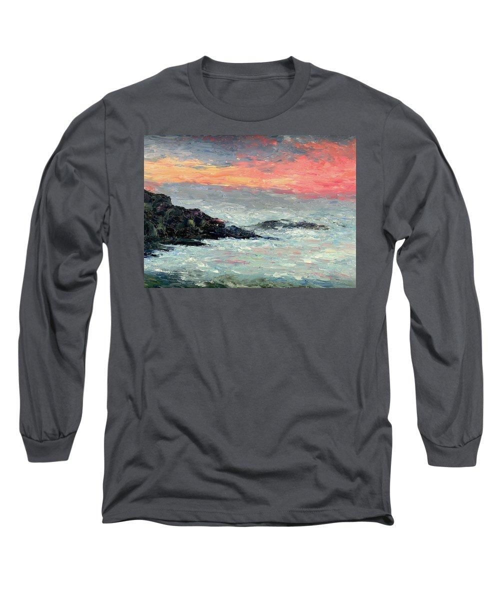 Seascape Long Sleeve T-Shirt featuring the painting California Coast by Gail Kirtz