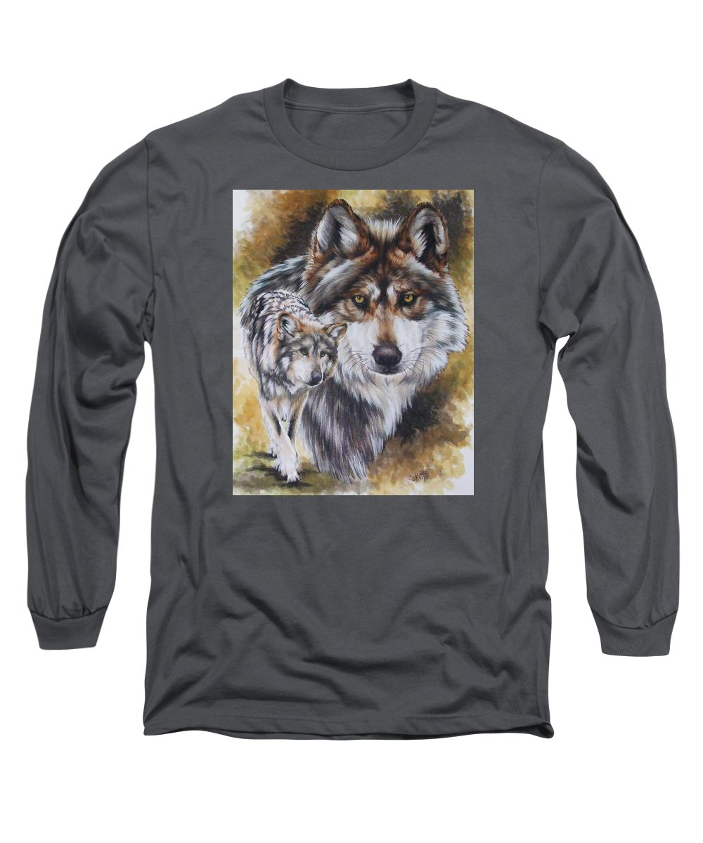 Wildlife Long Sleeve T-Shirt featuring the mixed media Callidity by Barbara Keith