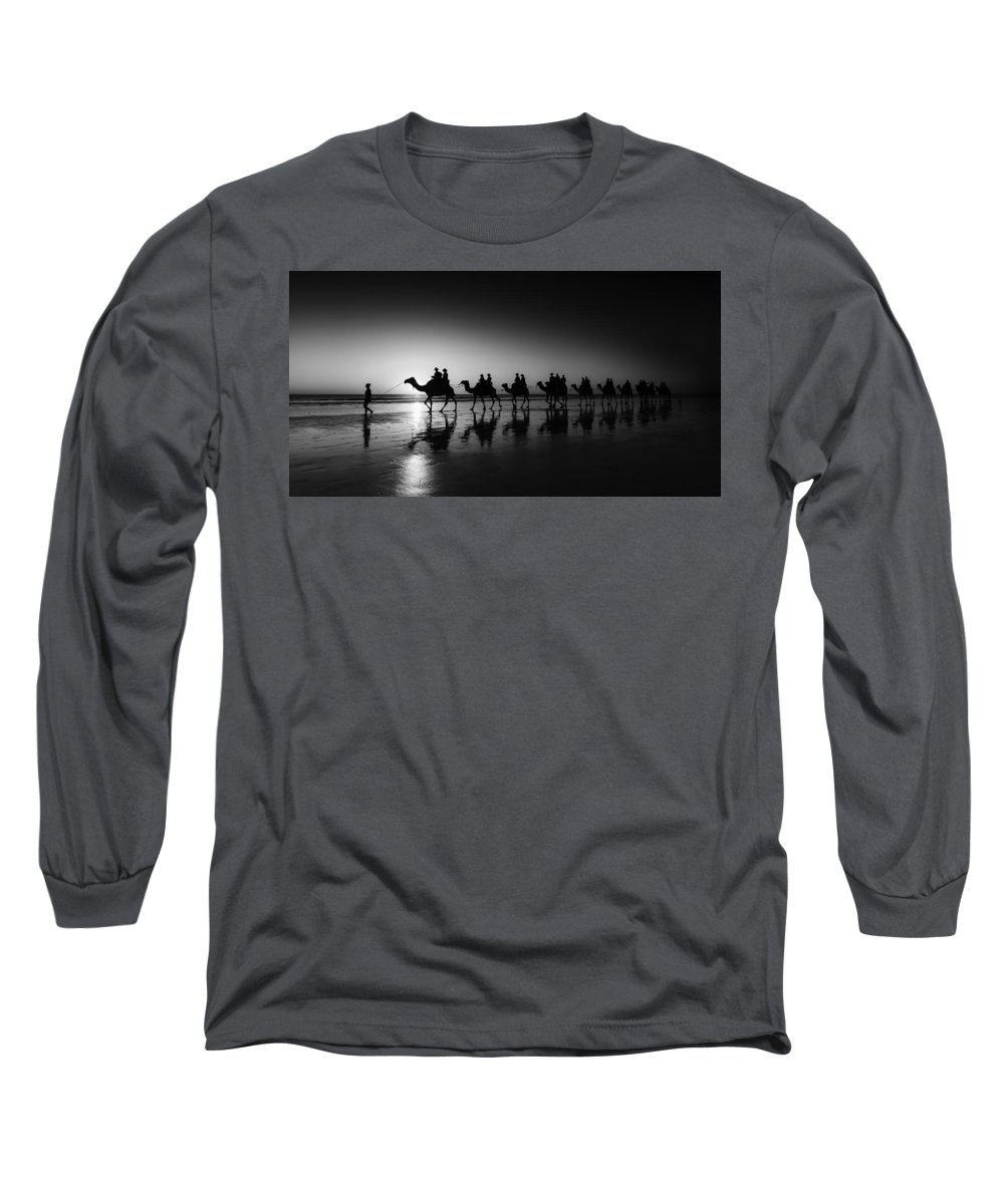 Broome Long Sleeve T-Shirt featuring the photograph Camels On The Beach by Chris Cousins