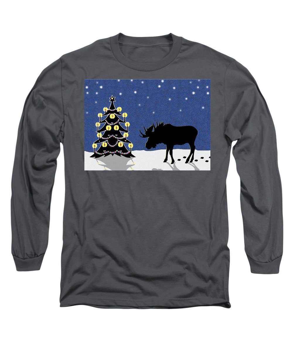 Moose Long Sleeve T-Shirt featuring the digital art Candlelit Christmas Tree And Moose In The Snow by Nancy Mueller
