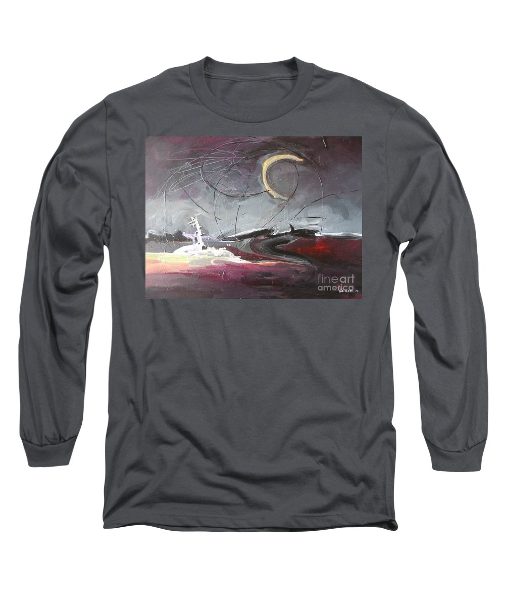 Abstract Paintings Long Sleeve T-Shirt featuring the painting Cape St. Mary by Seon-Jeong Kim