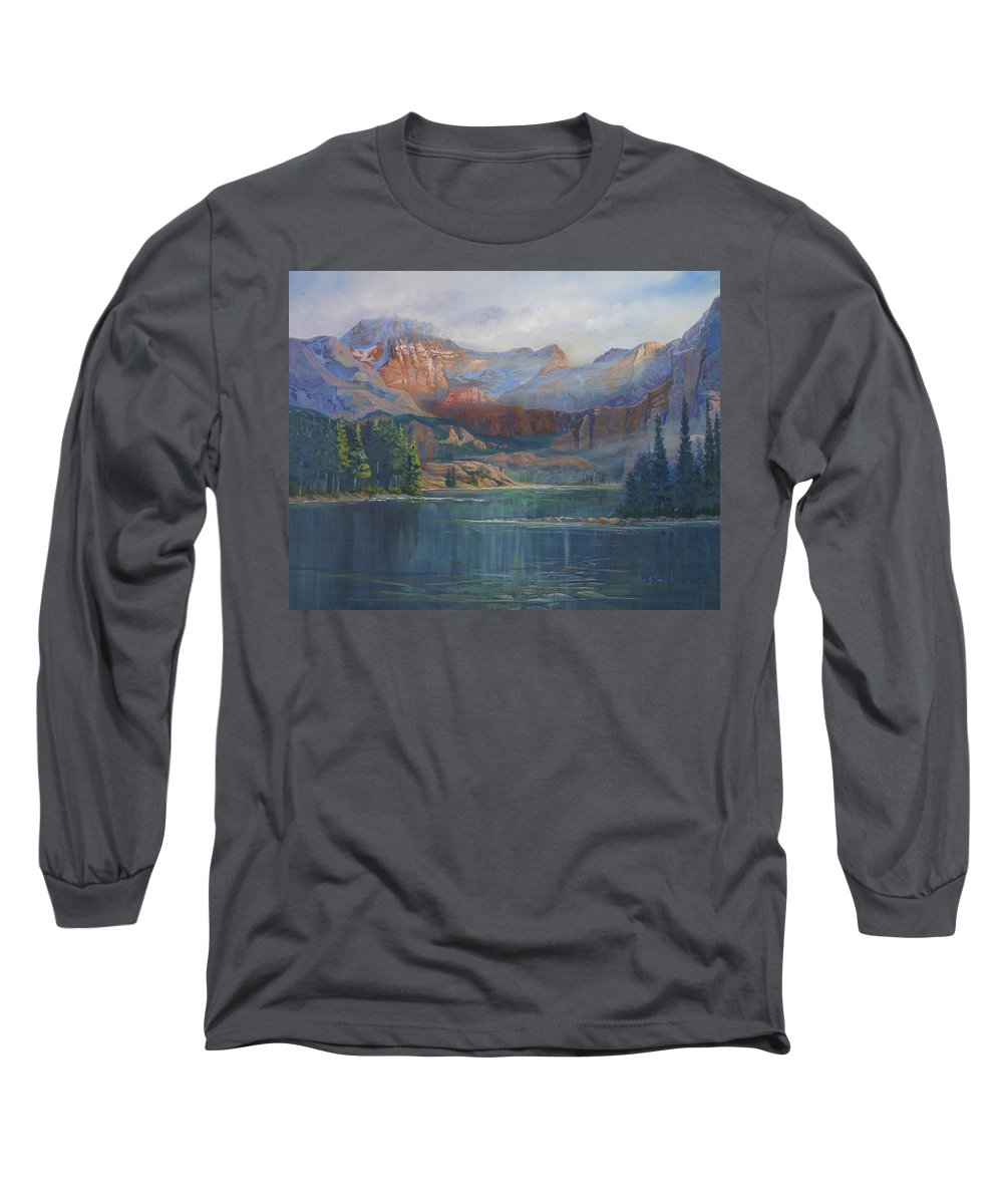 Capital Peak Long Sleeve T-Shirt featuring the painting Capitol Peak Rocky Mountains by Heather Coen