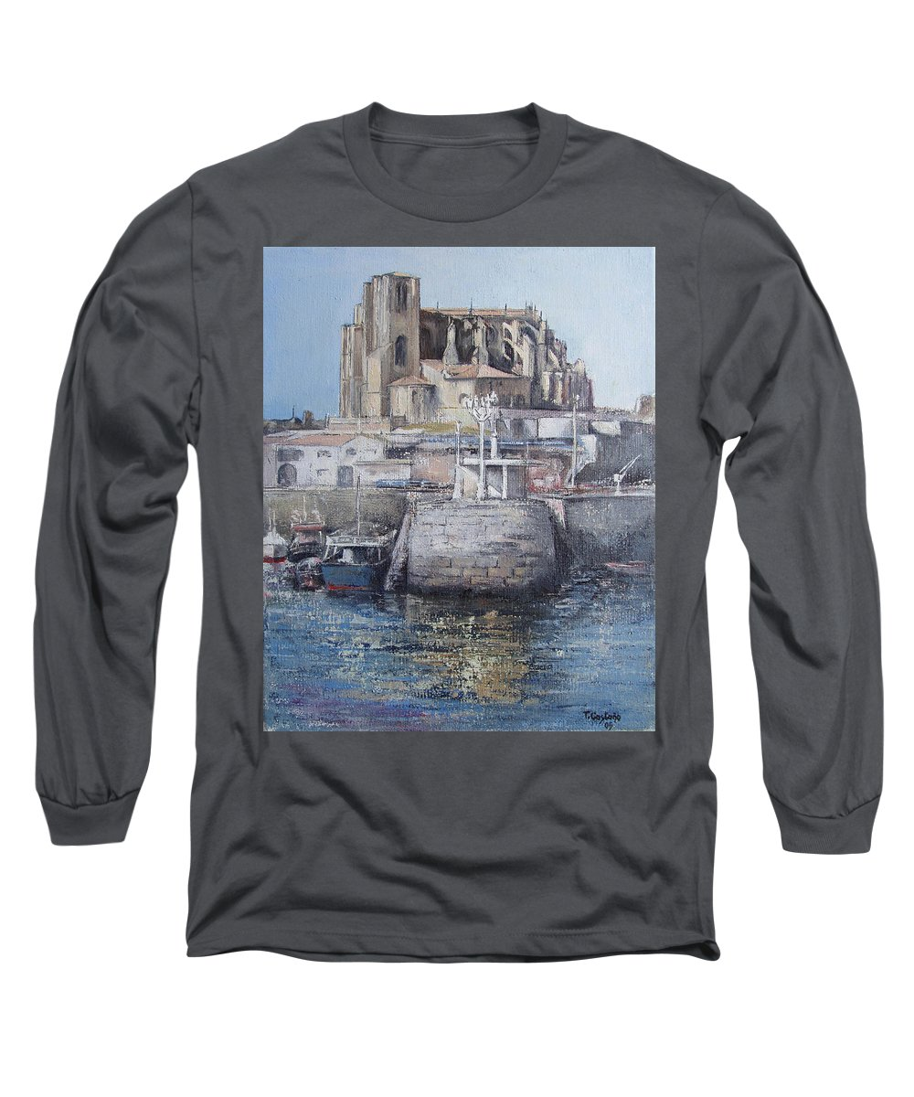 Castro Long Sleeve T-Shirt featuring the painting Castro Urdiales by Tomas Castano