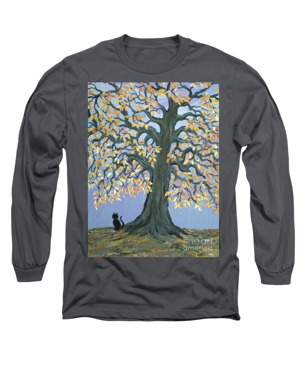 Cat Long Sleeve T-Shirt featuring the painting Cat And Crow by Nick Gustafson