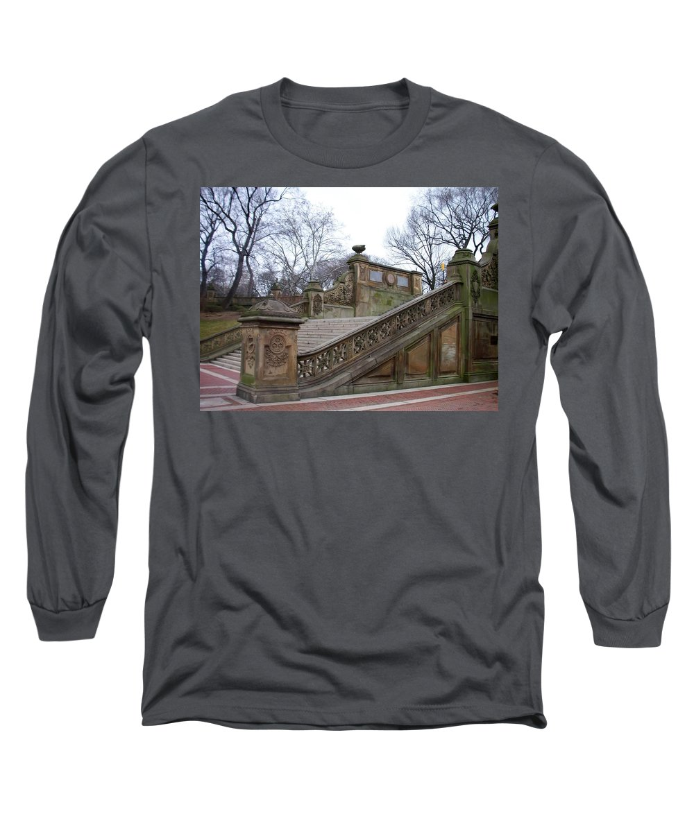 Central Park Long Sleeve T-Shirt featuring the photograph Central Park Bethesda 1 by Anita Burgermeister