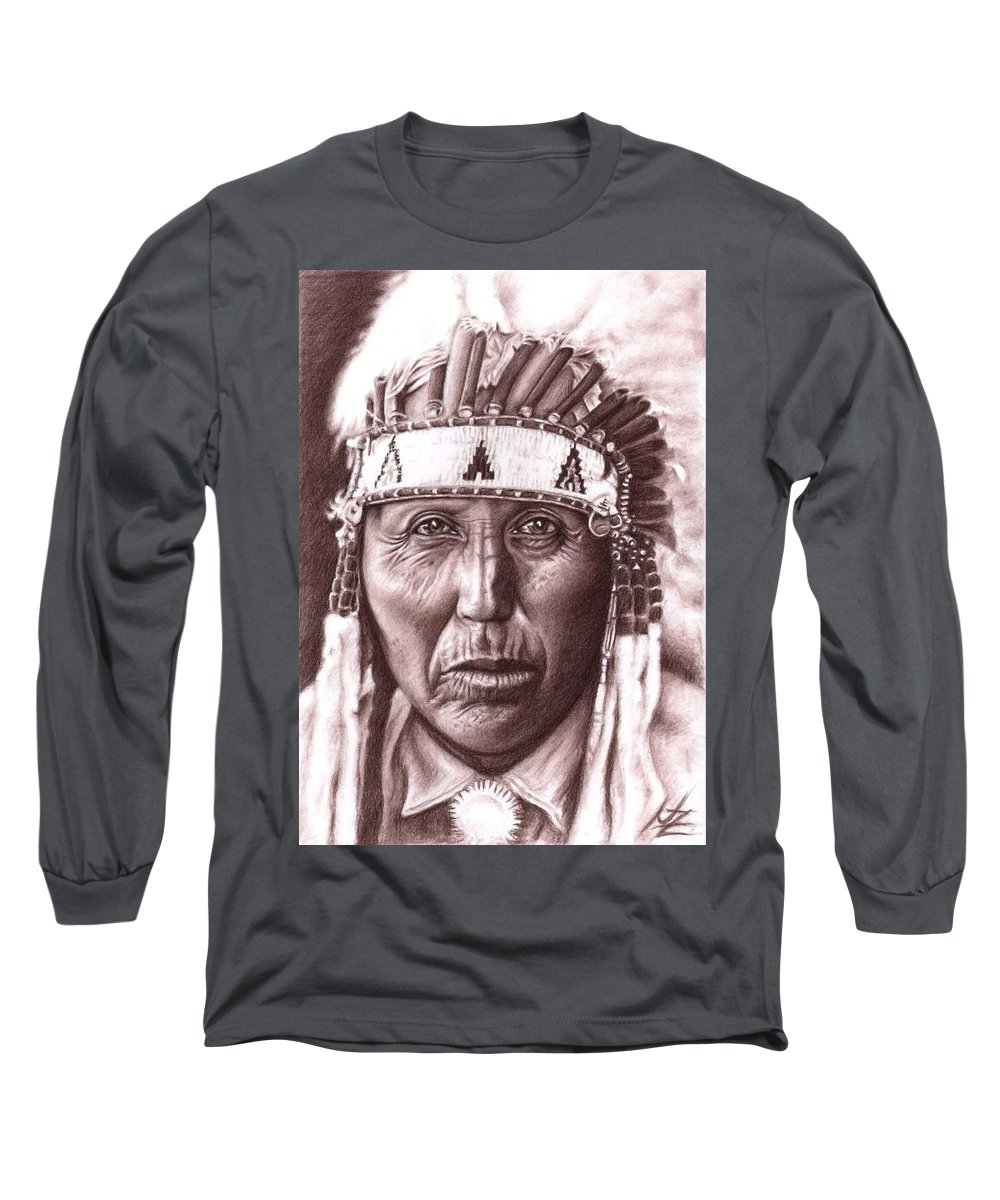 Indian Long Sleeve T-Shirt featuring the drawing Cherokee by Nicole Zeug