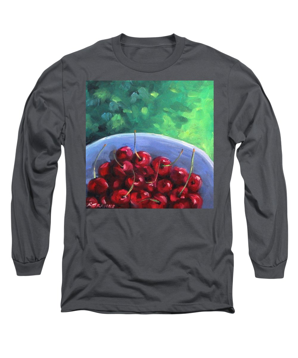 Art Long Sleeve T-Shirt featuring the painting Cherries On A Blue Plate by Richard T Pranke