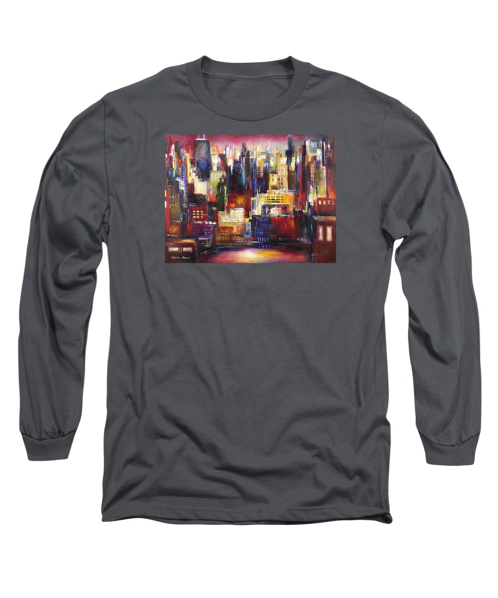 Chicago Art Long Sleeve T-Shirt featuring the painting Chicago City View by Kathleen Patrick