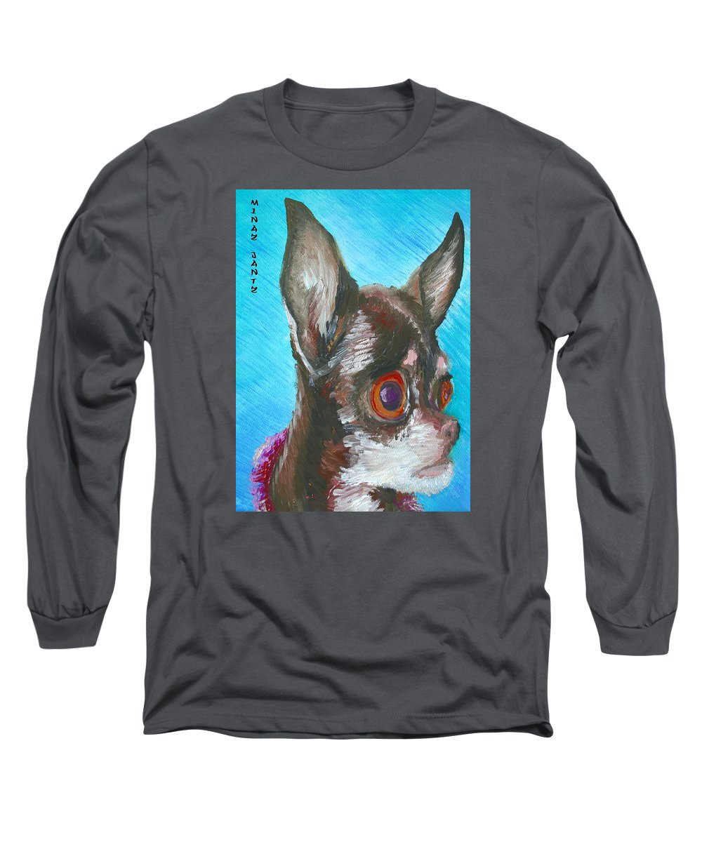 Dog Long Sleeve T-Shirt featuring the painting Chili Chihuahua by Minaz Jantz