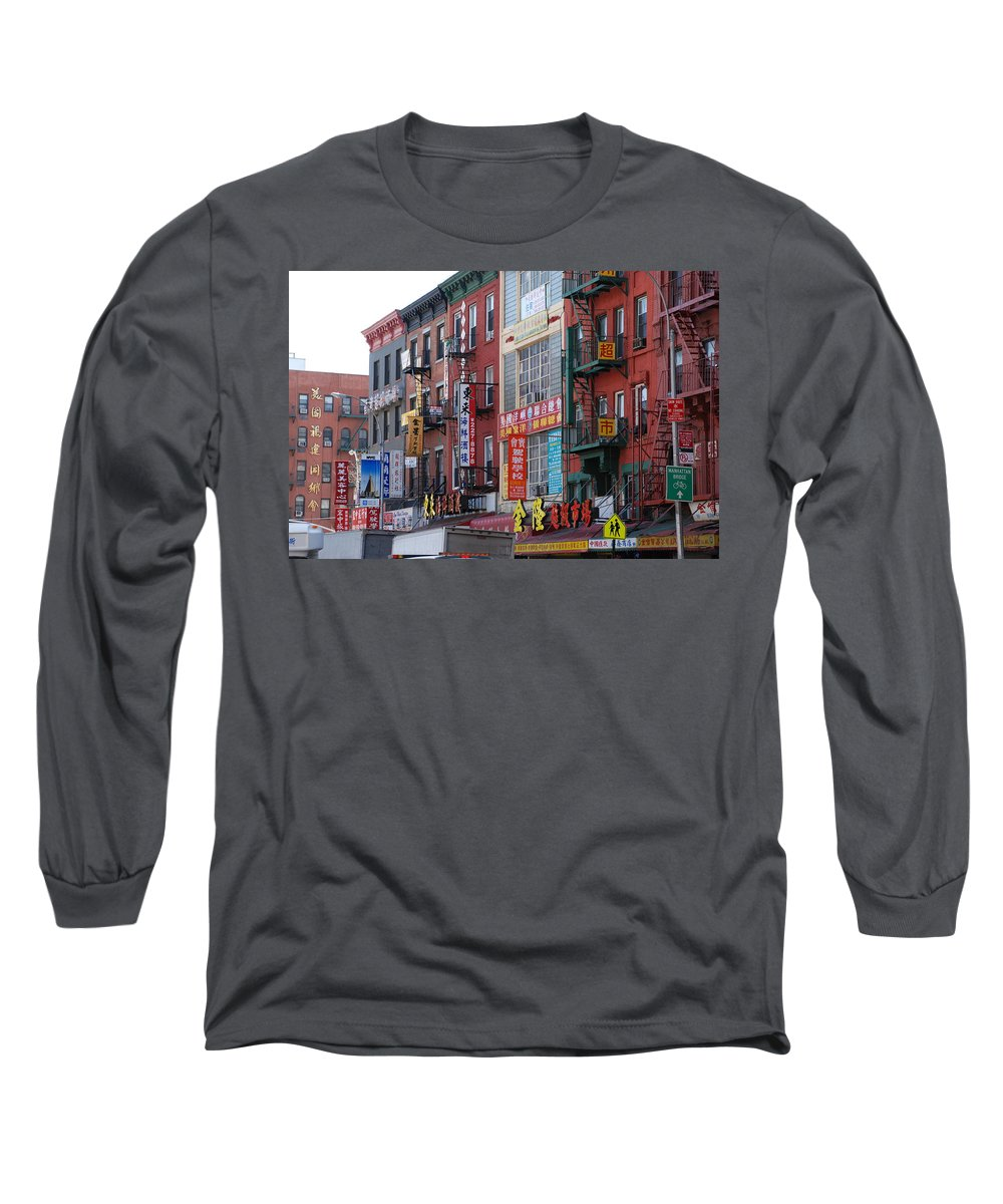 Architecture Long Sleeve T-Shirt featuring the photograph China Town Buildings by Rob Hans