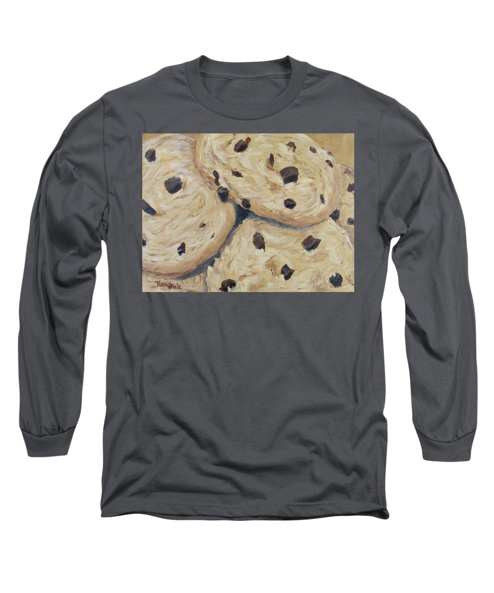Dessert Long Sleeve T-Shirt featuring the painting Chocolate Chip Cookies by Nancy Nale