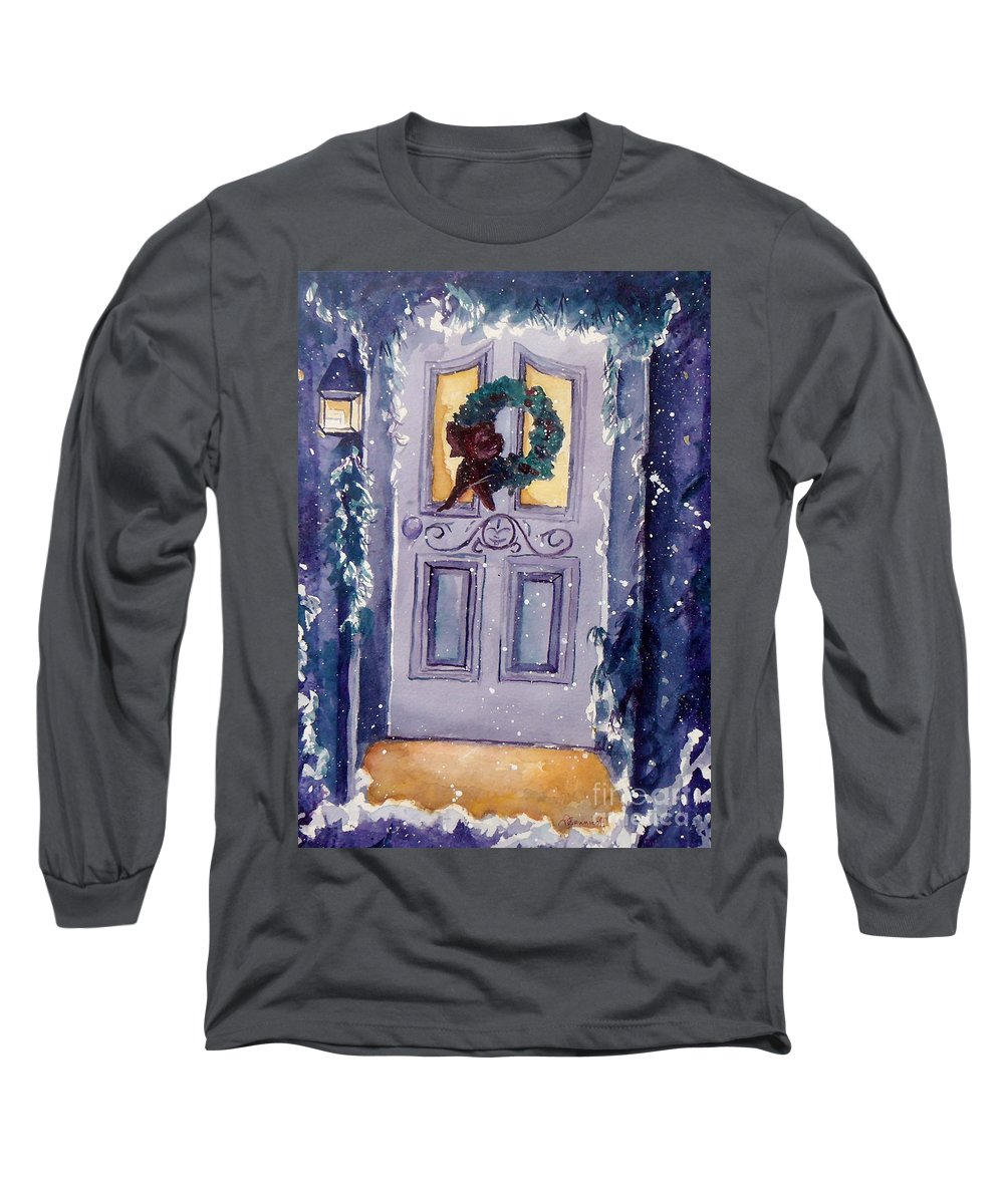 Holiday Scene Long Sleeve T-Shirt featuring the painting Christmas Eve by Jan Bennicoff