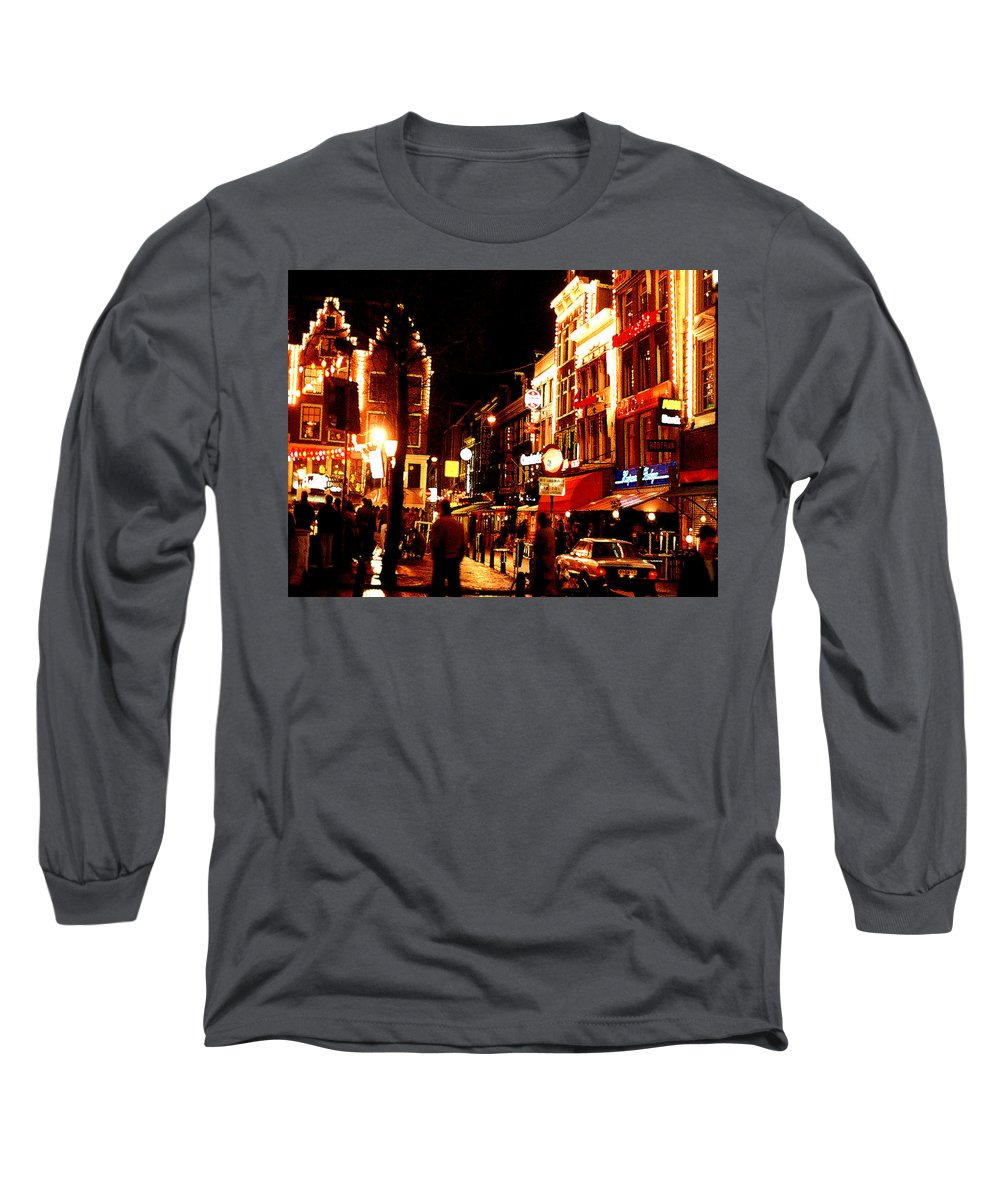 Night Long Sleeve T-Shirt featuring the photograph Christmas In Amsterdam by Nancy Mueller
