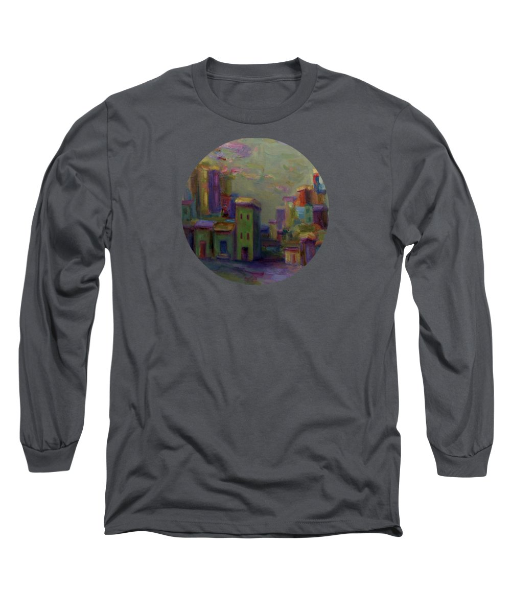 Cityscape Long Sleeve T-Shirt featuring the painting City Of Color And Light by Mary Wolf