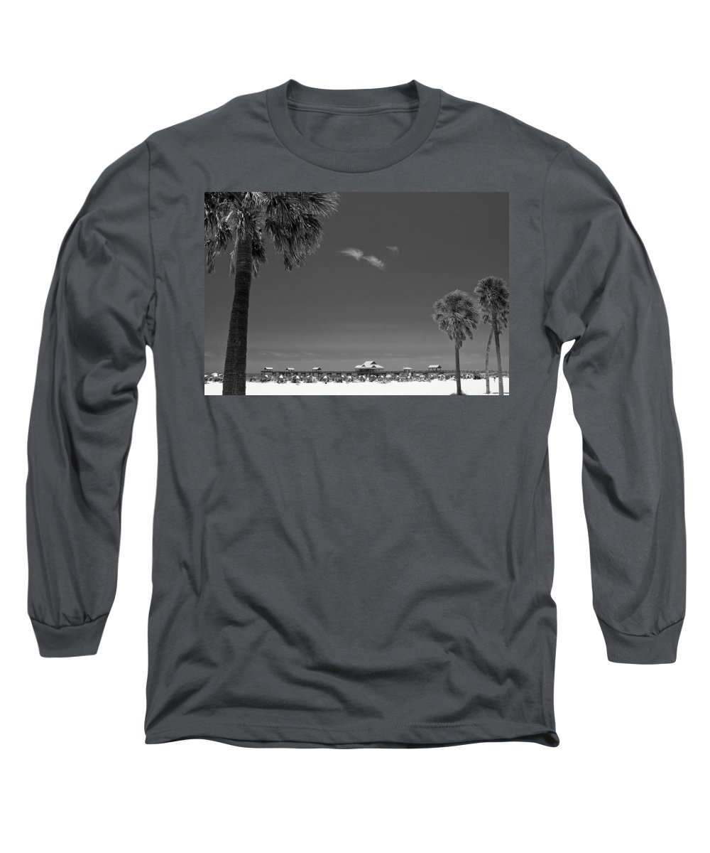 B&w Long Sleeve T-Shirt featuring the photograph Clearwater Beach Bw by Adam Romanowicz