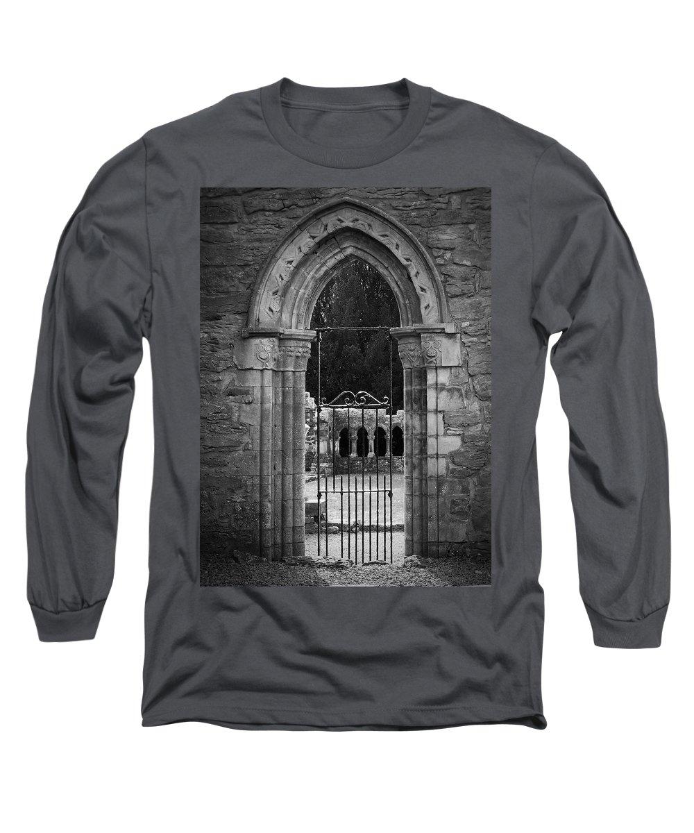 Irish Long Sleeve T-Shirt featuring the photograph Cloister View Cong Abbey Cong Ireland by Teresa Mucha