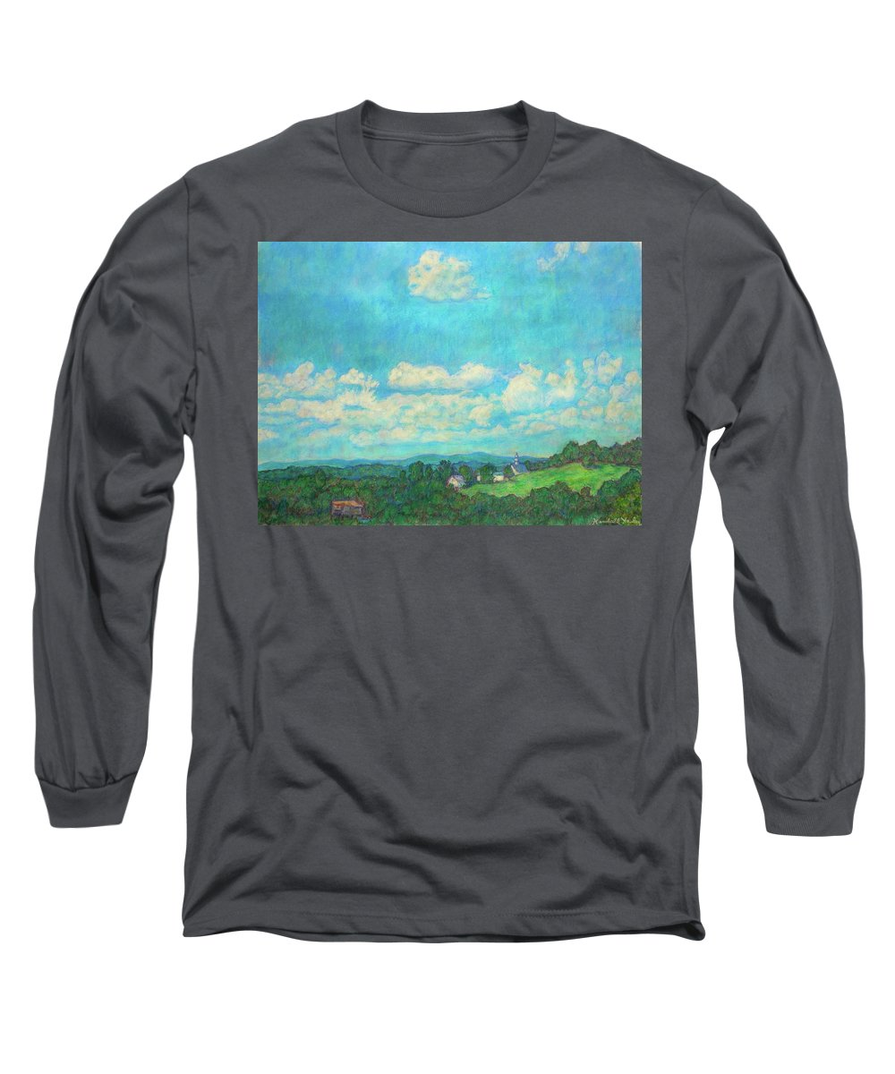 Landscape Long Sleeve T-Shirt featuring the painting Clouds Over Fairlawn by Kendall Kessler