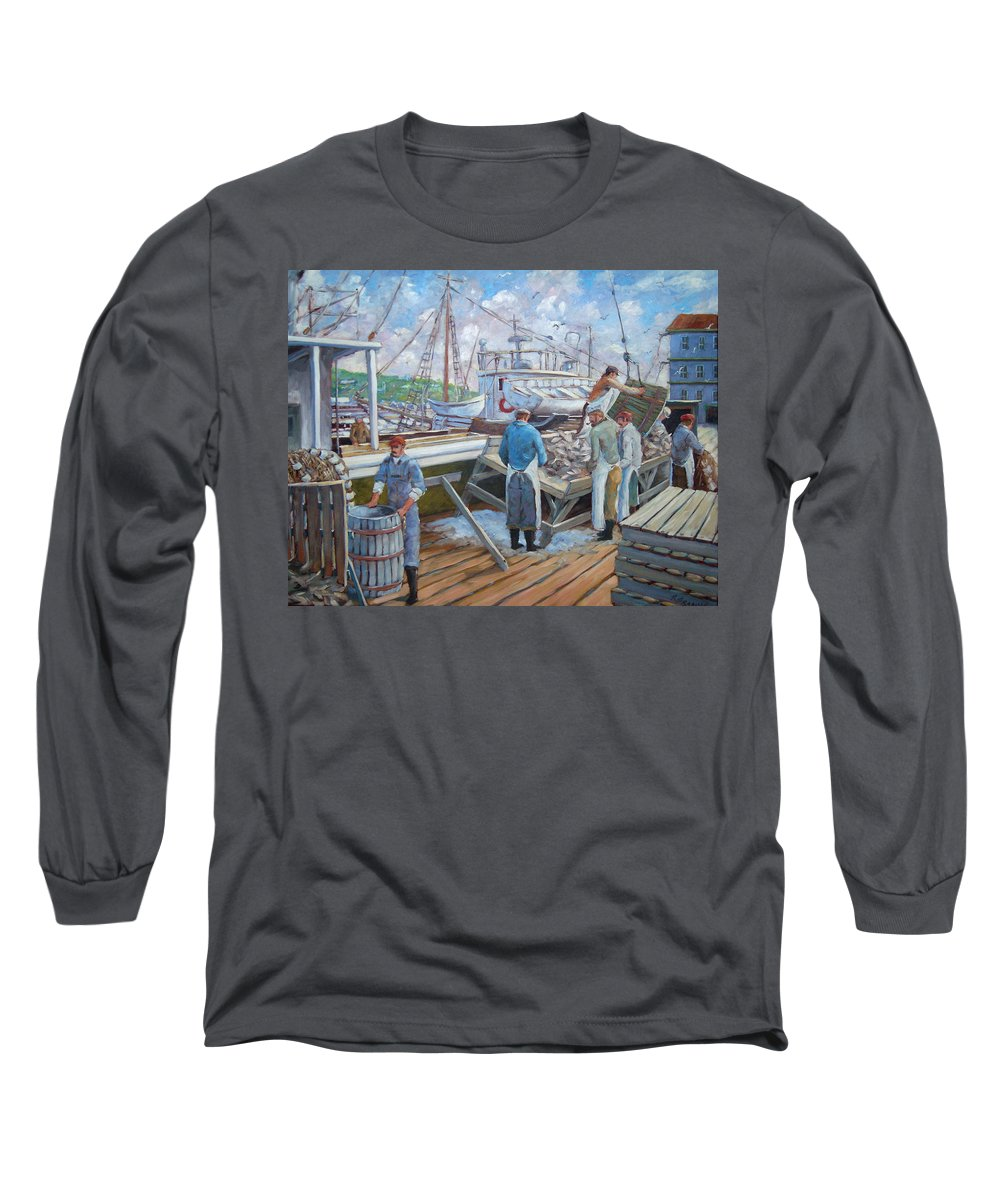 Cod Long Sleeve T-Shirt featuring the painting Cod Memories by Richard T Pranke