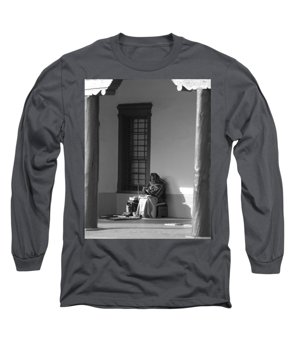 Southwestern Long Sleeve T-Shirt featuring the photograph Cold Native American Woman by Rob Hans