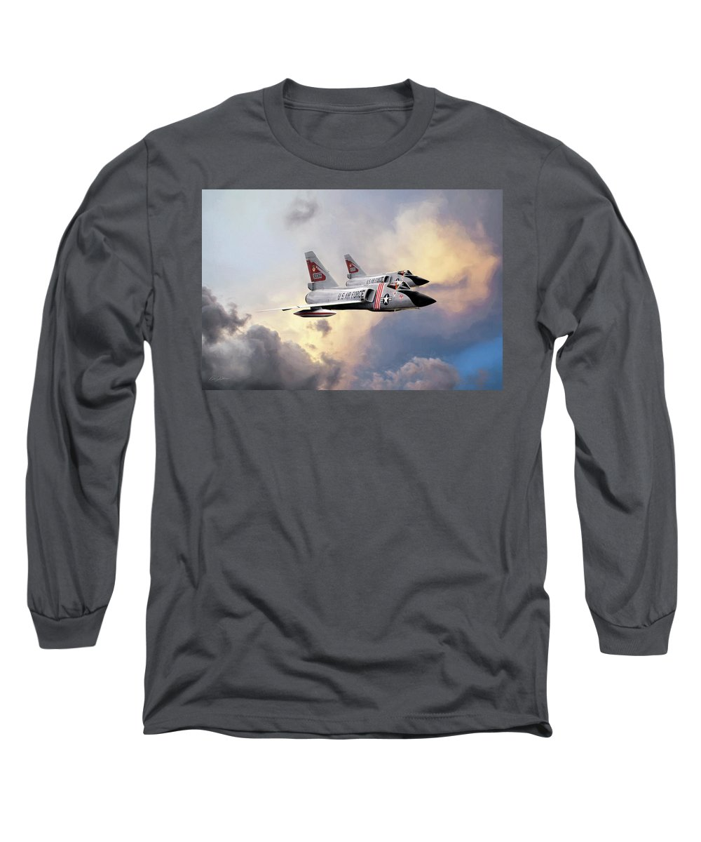 Aviation Long Sleeve T-Shirt featuring the digital art Cold War Red Bulls by Peter Chilelli