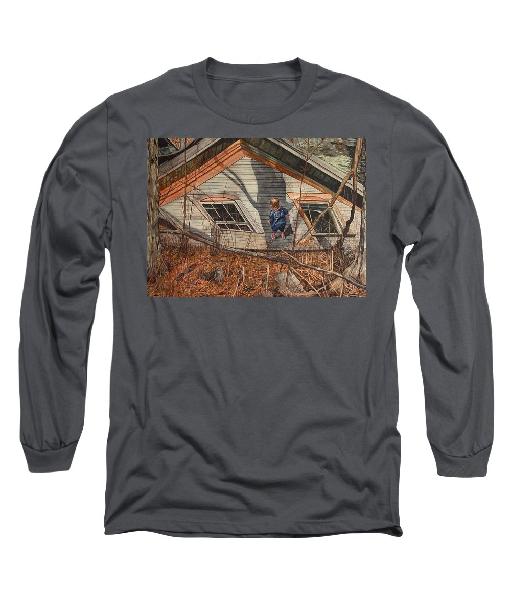 Children Long Sleeve T-Shirt featuring the painting Collapsed by Valerie Patterson