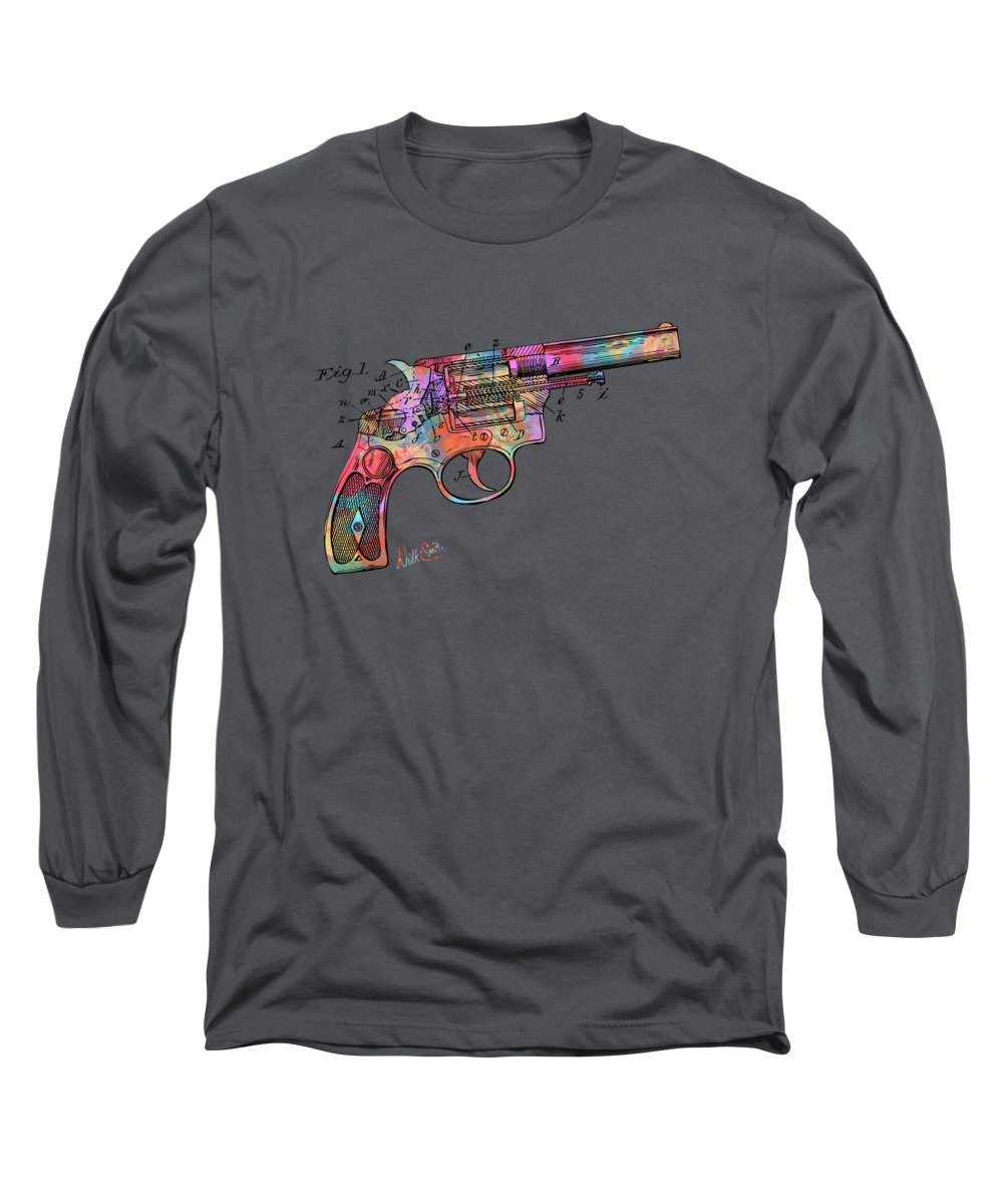 Wesson Long Sleeve T-Shirt featuring the digital art Colorful 1896 Wesson Revolver Patent by Nikki Marie Smith