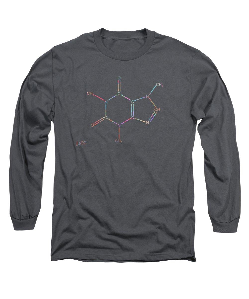 Caffeine Long Sleeve T-Shirt featuring the digital art Colorful Caffeine Molecular Structure by Nikki Marie Smith