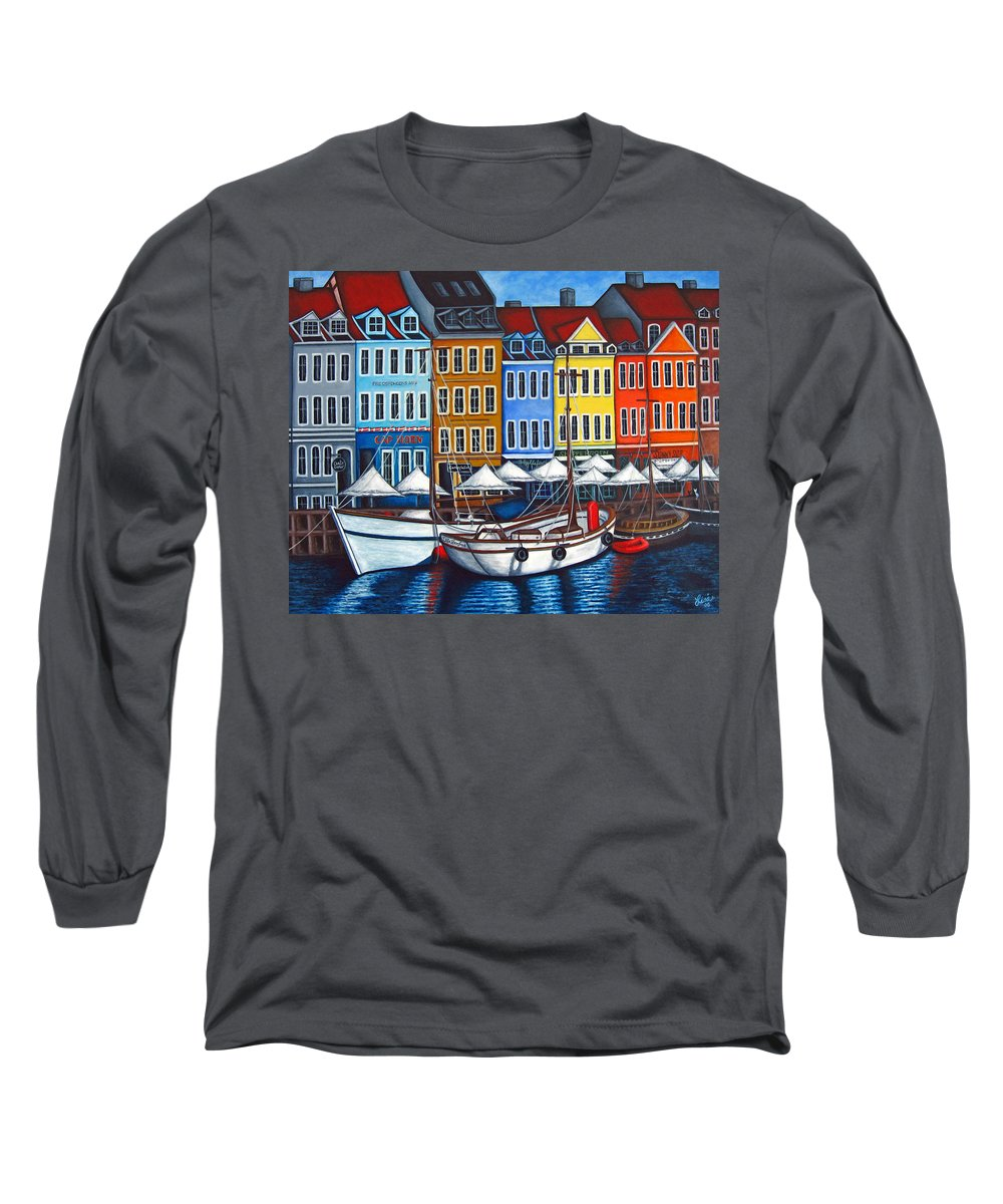 Nyhavn Long Sleeve T-Shirt featuring the painting Colours Of Nyhavn by Lisa Lorenz
