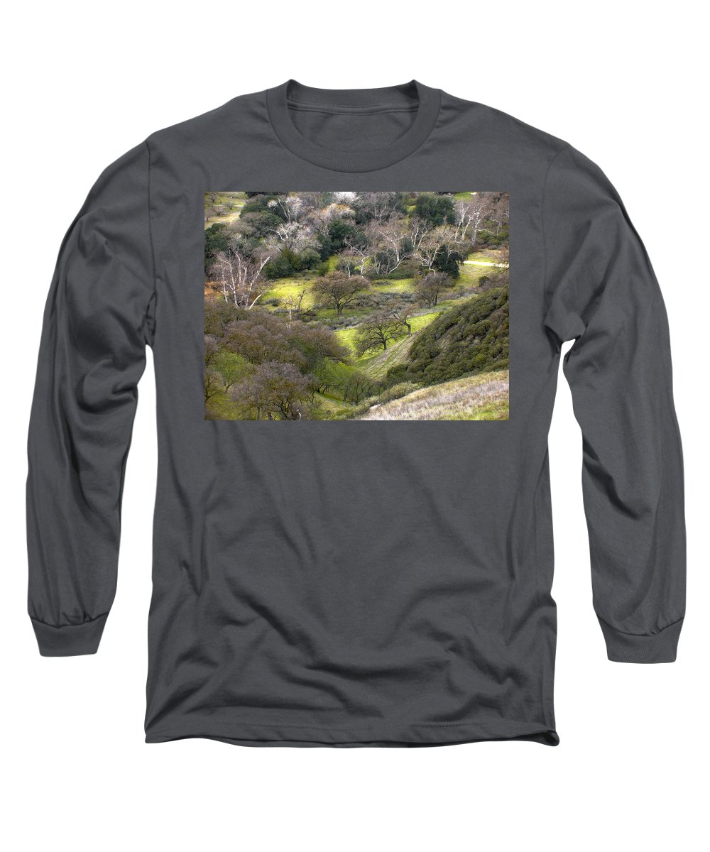 Landscapes Long Sleeve T-Shirt featuring the photograph Coming Down The Hill by Karen W Meyer