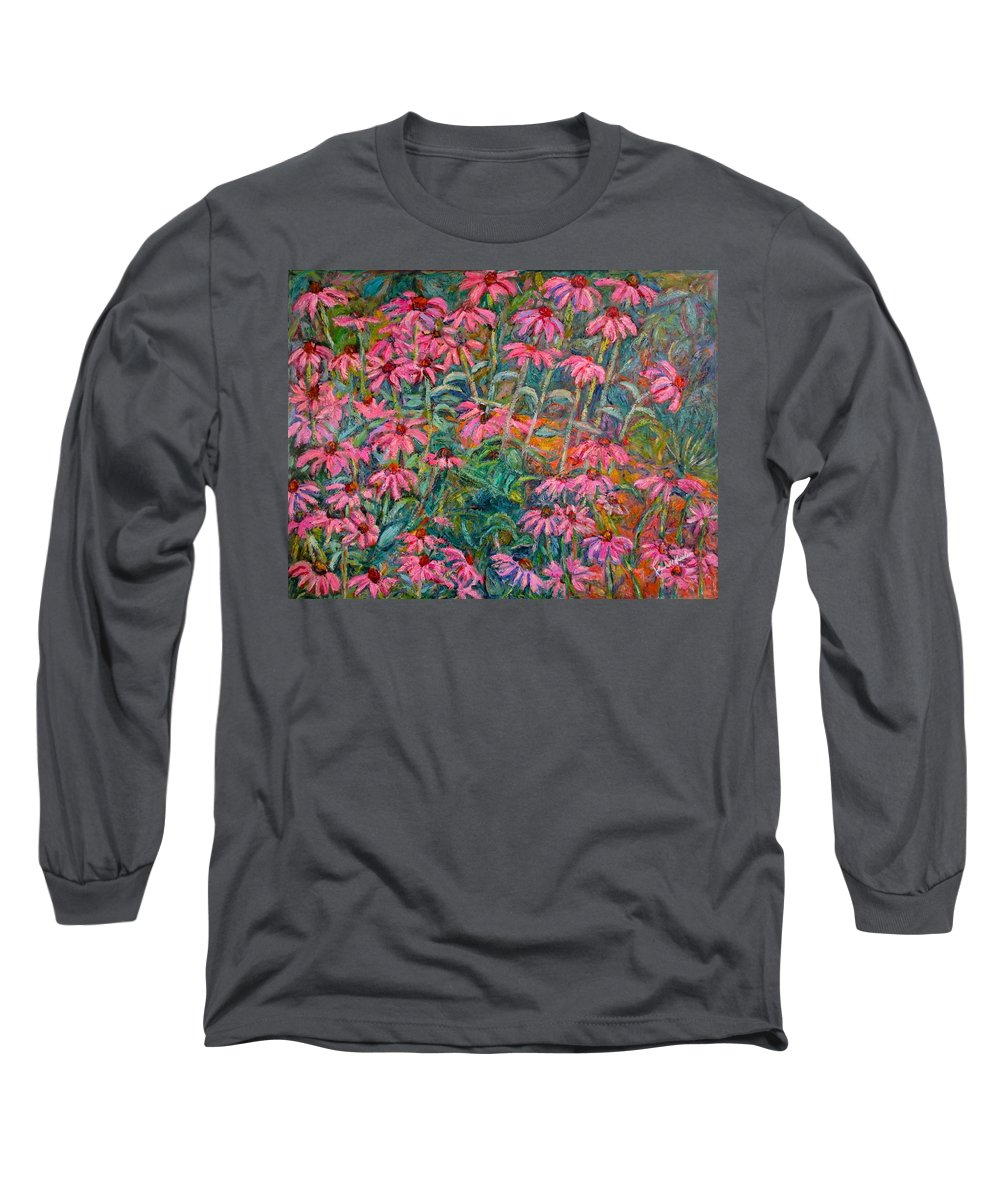 Kendall Kessler Long Sleeve T-Shirt featuring the painting Coneflowers by Kendall Kessler